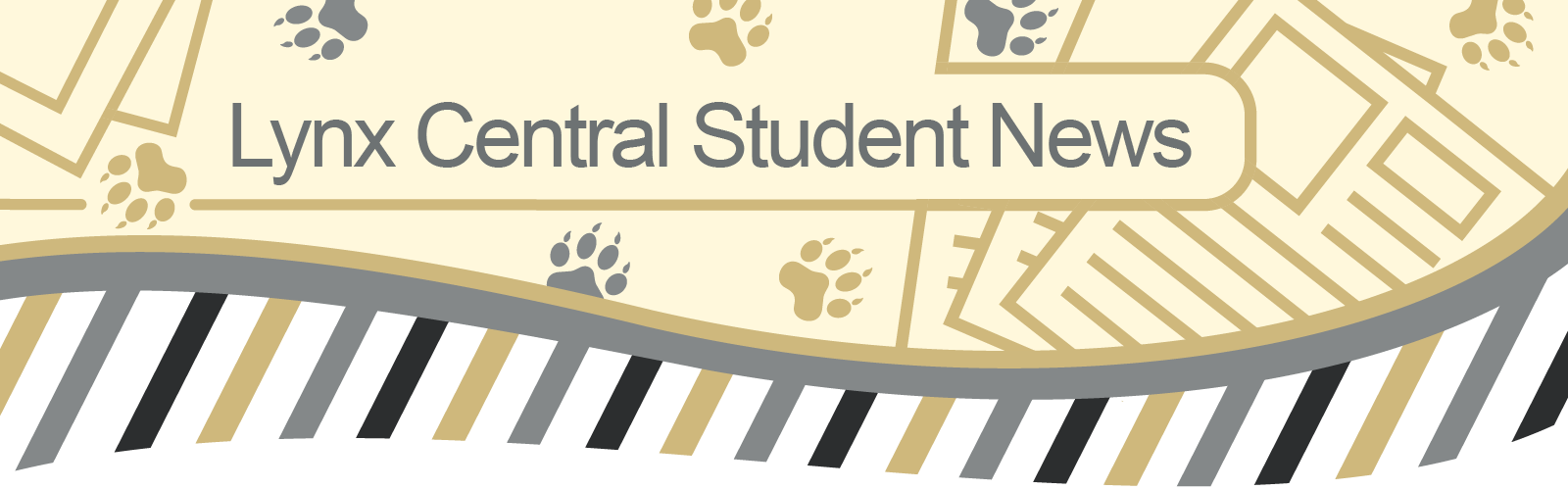 Masthead graphic with lynx paw prints