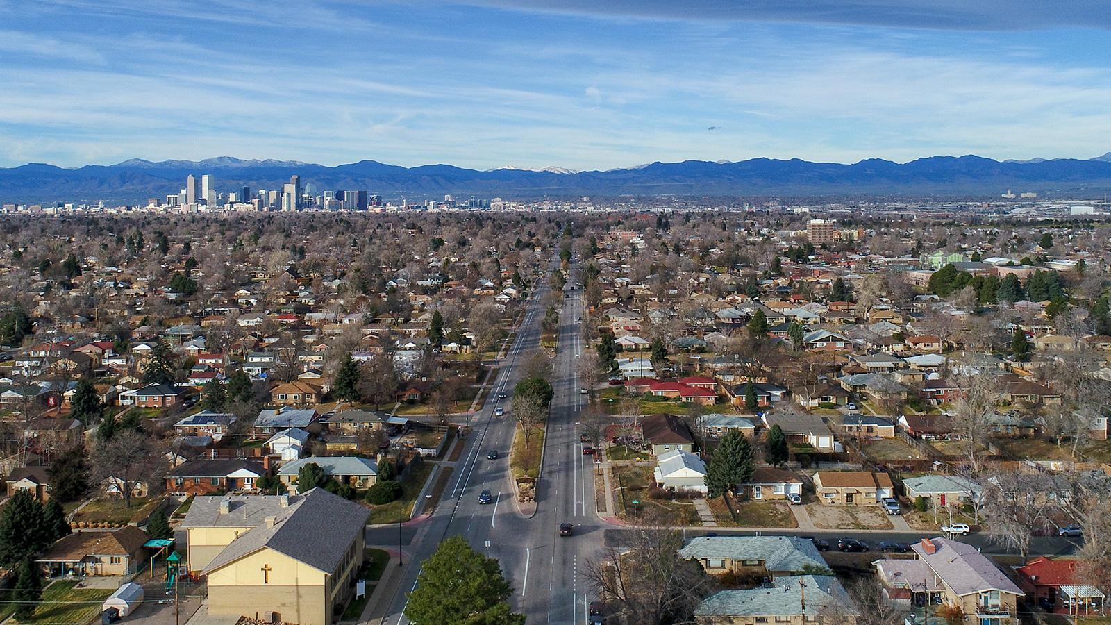 Aerial of Denver city